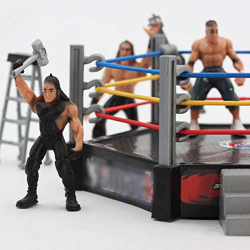 HEITIGN Mini Wrestling Figure Playset, Fighting Toys Wrestling Toys Wrestler Warrior Toys Funny Wrestling Ring Set Kids Toys