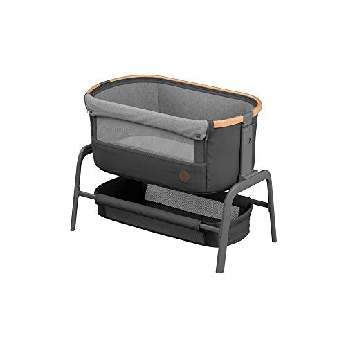 Maxi-Cosi Iora Co-Sleeper, Bedside Crib with Easy Slide Function, Suitable from Birth, 0 Months - 9 kg, Essential Graphite