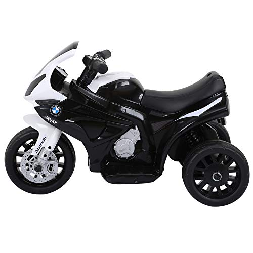 HOMCOM Compatible for Kids 3 Wheel Electric Motorbike Ride on Motorcycle w/ Headlights Music Battery Powered Play Bike 6V Black BMW S1000RR