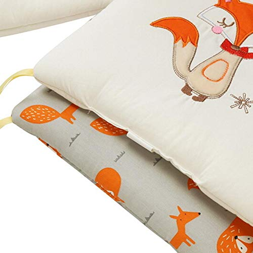 Baby Crib Bumper Toddle Nursery Bedding Cot Bumpers Cute Animal Printed Pattern Cot Bed cushion Sets 6 Pieces Boys and Girls bassinet Cradle Protector Pad