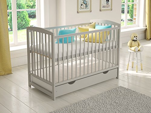 Jacob Wooden Baby Cot Bed 120x60cm Free Deluxe Aloe Vera Mattress, Safety Wooden Barrier & Teething Rails (Grey)