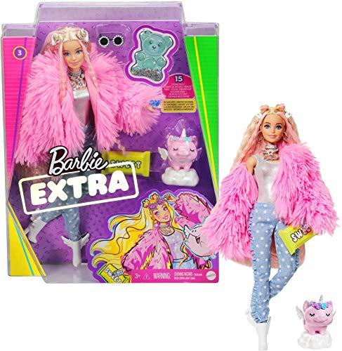 Barbie Extra Doll in Pink Fluffy Coat with Unicorn-Pig Toy
