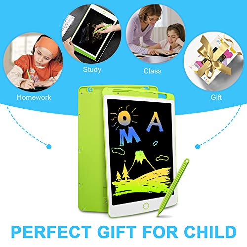 Richgv Colourful LCD Writing Tablet, 10 Inch Digital Ewriter with Erase Lock Switch, Electronic Graphics Drawing Board, Portable Handwriting Doodle Pad for Kids Office Home Learning Toys Gifts