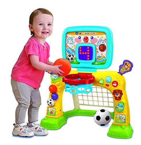 VTech 2-in-1 Sports Centre, Baby Interactive Toy with Colours and Sounds, Educational Games for Kids, Learning Toys with Role-Play, Suitable for Baby Boys and Girls from 12 to 36 Months (Yellow/Blue)