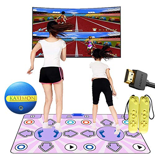 Dance Mat for TV with HDMI Interface, Self-update Non-slip Wireless Double Dance Pad with English Manual, Dance Music Game for Kids Boys Girls 6-13 Yrs Old, Play Mats Built in Retro FC Arcade Games