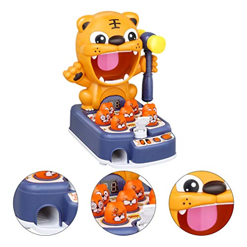 NUOBESTY Classic Mole Whacking Electronic Arcade Game Kids Educational Musical Learning Bilingual Toy Blue