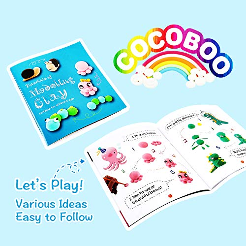 COCOBOO Air Dry Clay Kit, 24 Colors No-Toxic Modelling Clay for kids, Magic Clay Dough with Book, Tools, Accessories, Arts and Crafts for Kids