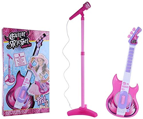 MZZYP Kids Electric Guitar and Microphone Karaoke Set, Musical Instruments Educational Toy Gift for Children (Color : Pink, Size : 104 x 24cm)