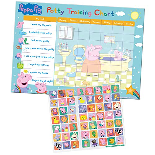 Paper Projects 01.70.30.022 Peppa Pig Potty and Toilet Training Reward Chart and 56 Sparkly Stickers