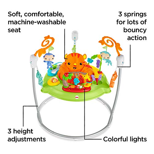 Fisher-Price CHM91 Roaring Rainforest Jumperoo, New-Born Baby Activity Centre with Music and Lights