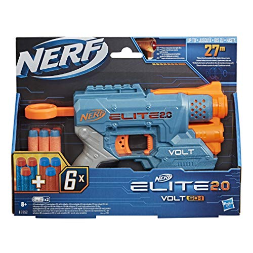 Nerf Elite 2.0 Volt SD-1 Blaster – 6 Official Nerf Darts, Light Beam Targeting, 2-Dart Storage, 2 Tactical Rails to Customise for Battle