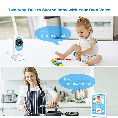 "Baby Monitor with Camera and Night Vision, HelloBaby Video Monitor with 2.5"" LCD Display and Video Recording, 2 Way Talk, Room Teperature Monitoring, 2.4G FHSS Wireless,Best Baby Gift for Parents"