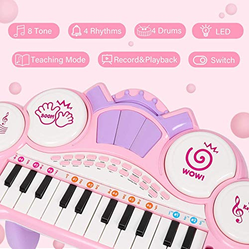 Shhjjyp Kids Piano Keyboard 37 Key Multi-Function Electronic Kids Piano Keyboard Educational Toy Music Piano Keyboard with Microphone Keyboard Portable Musical Electronic Karaoke, Pink,pink