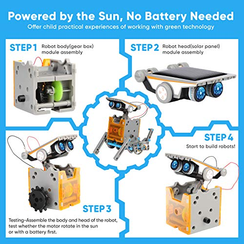 Sillbird STEM 12-in-1 Education Solar Robot Toys-190 Pieces DIY Building Science Experiment Kit for kids Aged 8-10+,Solar Powered by the Sun