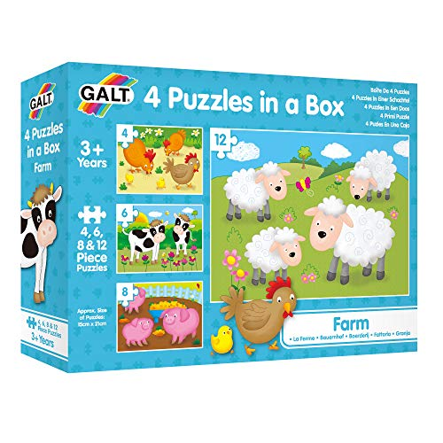 Galt Toys, 4 Puzzles in a Box - Farm, Farm Animal Jigsaw Puzzle for Kids, Ages 18 Months Plus