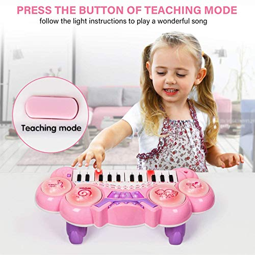 Shhjjyp Kids Piano Keyboard 37 Key Multi-Function Electronic Kids Piano Keyboard Educational Toy Music Piano Keyboard with Microphone Keyboard Portable Musical Electronic Karaoke, Pink,blue
