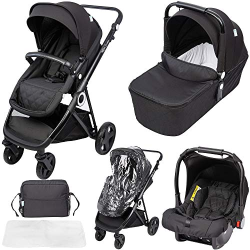 The Million Dreams 3 in 1 Travel System, Group 0 Car Seat + Carrycot, Mattress from Birth, Buggy with Lying Function, Changing Bag, Large Basket, Small Folding - Black