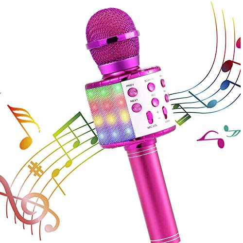 Microphone Gift Age 5-12 Girls Children, Singing Microphone Machine Toy for 6-11 Year Old Girl Teens Wireless Karaoke Microphone Gifts for 6-11 Year Old Girl Kids Birthday Gift for Girl MIC (Pink)