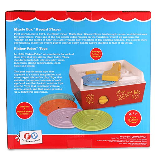 Fisher-Price Classics 1697 Music Box Record Player, Baby Musical Toy, Baby Interactive Toy with 10 Songs, Classic Toy with Retro Style Packaging, Pretend Play Toys for Boys and Girls Aged 18 Months+