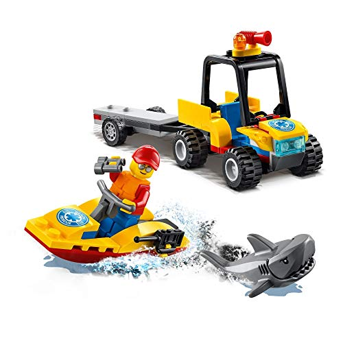 LEGO 60286 City Great Vehicles Beach Rescue ATV Toy, with Water Scooter, Lifeguard Minifigure and a Shark Figure