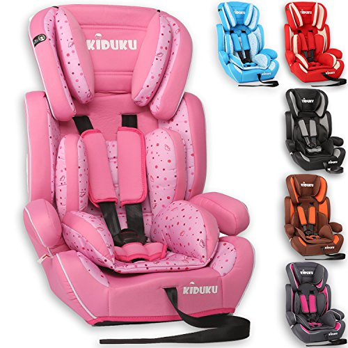 KIDUKU® Safety Car Seat | Booster Seat | 3 in 1 | for Childs and Babys from 9-36 kg (20 lbs - 80 lbs) or 1-12 Years | Convertible, universal | approved to ECE R44/04 | Group 1 + 2 + 3 | six pink