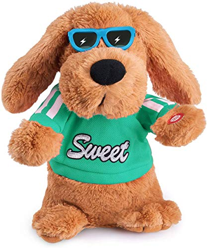 Green toy Musical Dancing Singing Electronic Dog Plush Stuffed Animal Interactive Puppy Pet Toy Animated Pet , Rock Body, Singing 6 Songs Plush Dog Toys for Boys Kids Toddlers Baby Toy