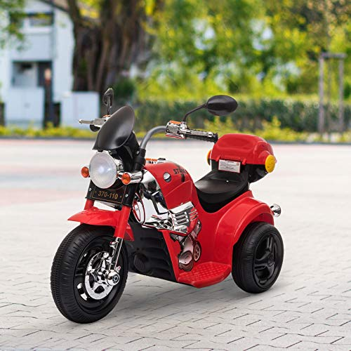 HOMCOM Kids 6V Electric Ride On Motorcycle Vehicle w/ Lights Music Horn Storage Box 3 Wheel Outdoor Play Toy for 18 - 36 Months Red