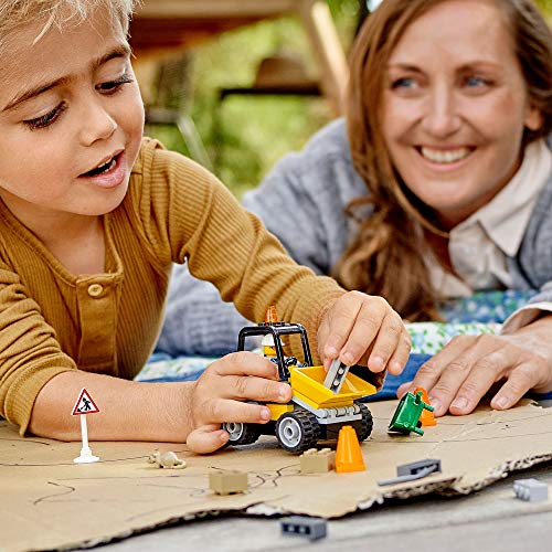 LEGO 60284 City Great Vehicles Roadwork Truck Toy, Front-End Loader for 4+ Years Old Boys and Girls