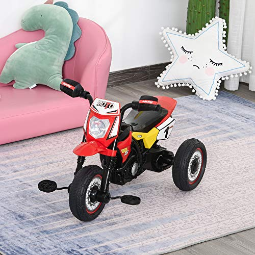 HOMCOM Toddler Pedal Motorcycle Kids Ride On Tricycle Early Learning w/ Music Lights Handlebar Stickers Exercise Boys Girls Gift for Kids 18 - 36 Months Red