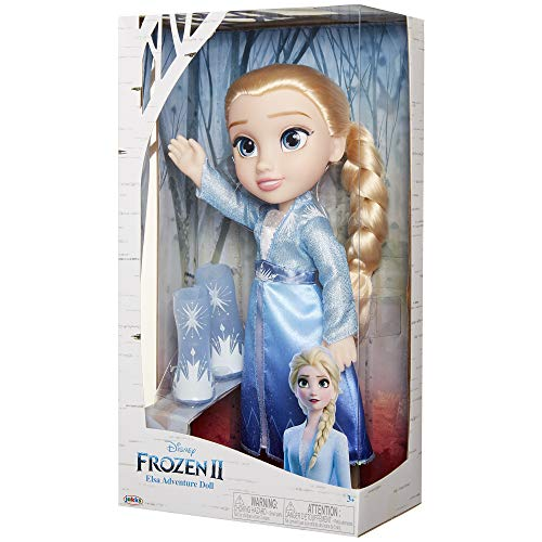 "Disney Frozen 2 Elsa Adventure Doll, 14"" Tall with Shimmery Ice Crystal Winged Cape, Boots & Gorgeous Hairstyle - for Ages 3+"