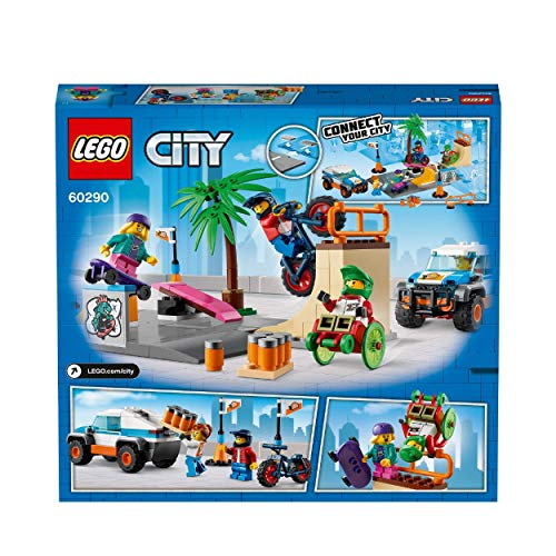 LEGO 60290 City Community Skate Park Building Set with Skateboard, BMX Bike, Truck Toy and Wheelchair Athlete Minifigure