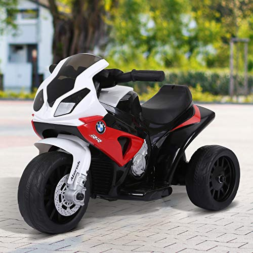 HOMCOM Compatible for Electric Kids Ride on Motorcycle BMW S1000RR w/ Headlights Music Battery Powered Play Bike 6V Red