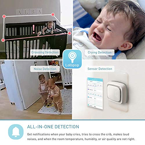 Lollipop Baby Monitor with True Crying Detection (Turquoise) - Smart WiFi Baby Camera - Camera with Video & Audio & Sleep Tracking