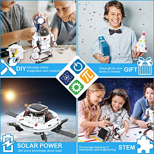 ATCRINICT [2020 New Upgrade STEM Toys 6-in-1 Solar Robot Kit Learning Science Building Toys Educational Science Kits Powered by Solar Robot for Kids 8 9 10-12 Year Old Boys Girls Gifts