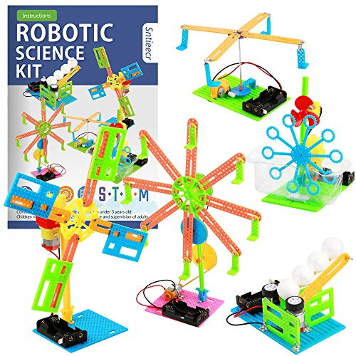 Sntieecr 5 Set Robotic Science Kits, DC Motor Electronic Assemble Kit Educational Engineering Science Kits Set for Kids, STEM Robot Building Project for Boys Girls