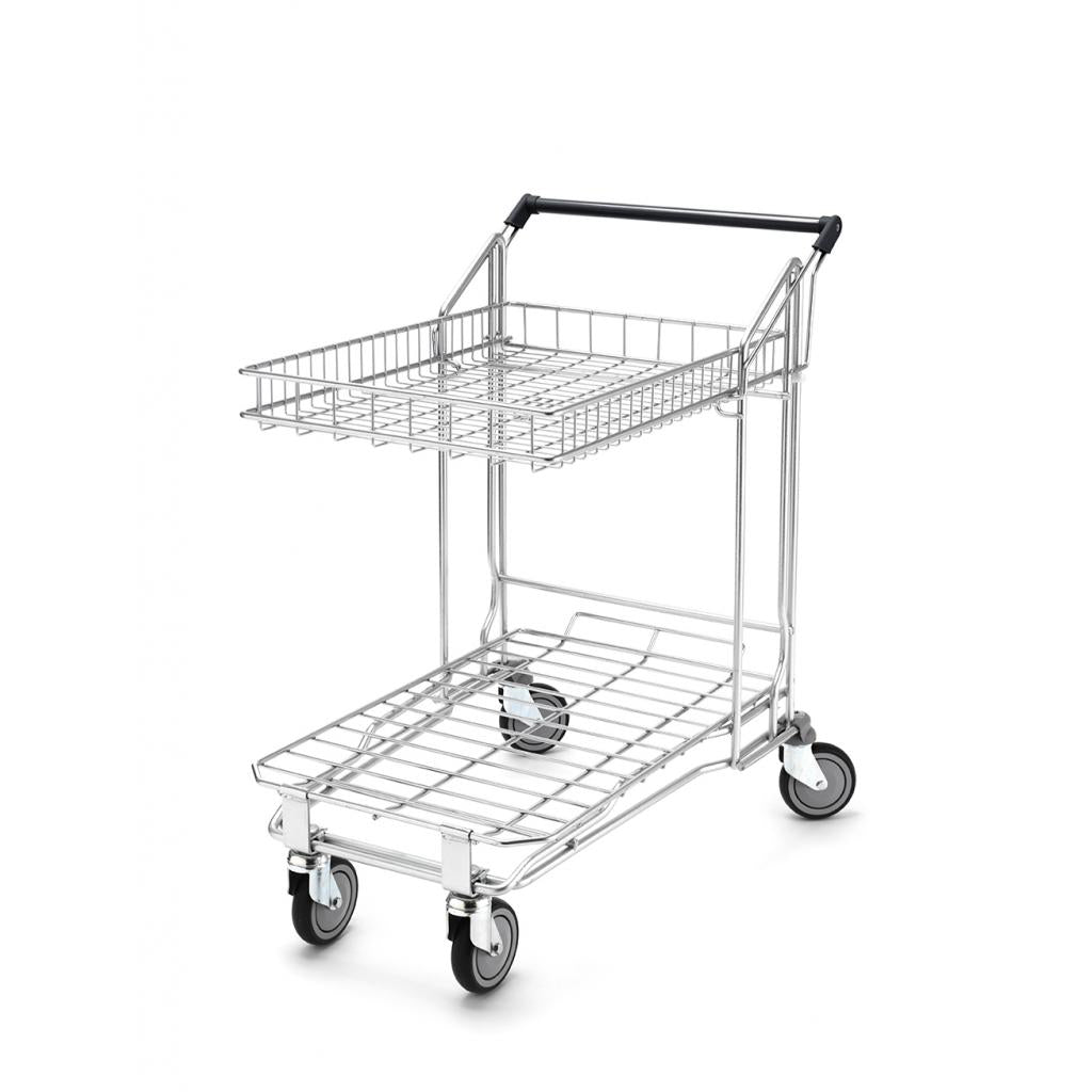 Flatbed Trolley with Foldable 27 Litre Top Basket