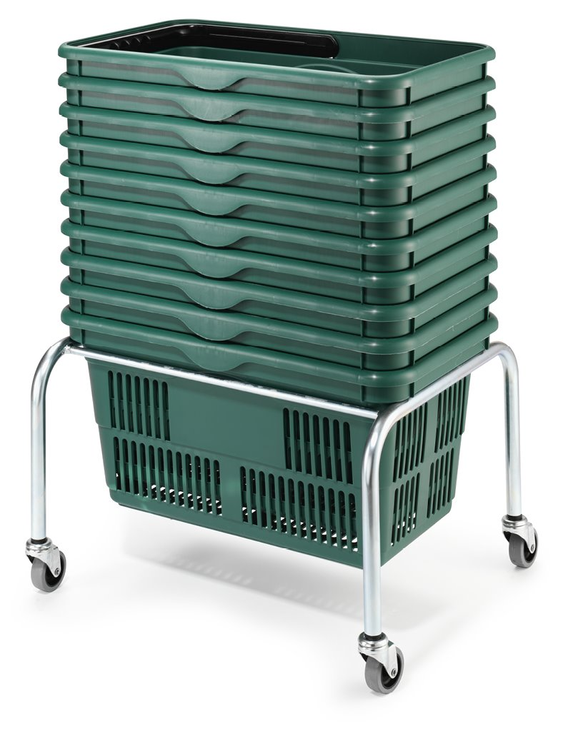 Basket Stacker on Wheels for Plastic Hand Baskets