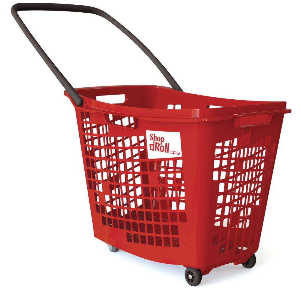 Trolley Basket, 4 Wheels - 55 Litre Black Handle