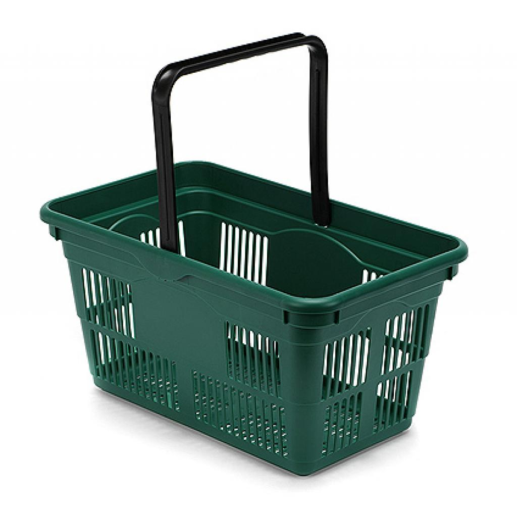 Shopping Basket - Green with Black Handle - 24 Litres - Pack of 12