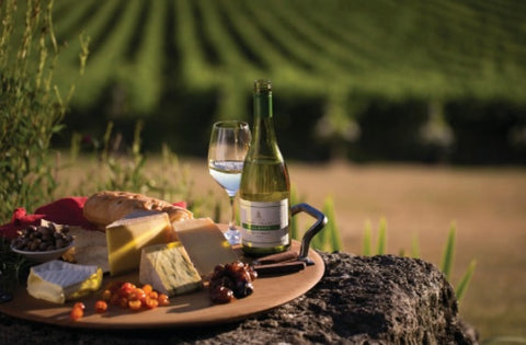 Australian winery with a cheese platter and white wine