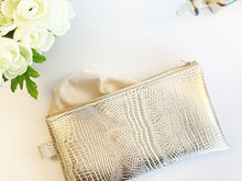Load image into Gallery viewer, Champagne Faux Croc Money Bag
