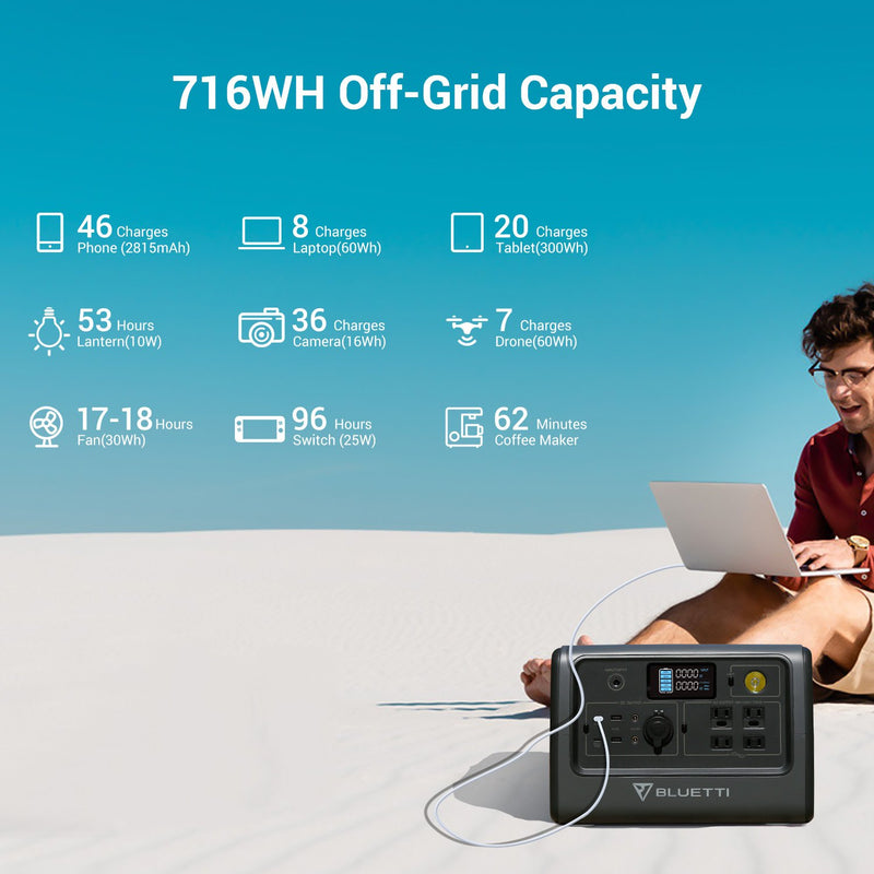 Bluetti EB70 716WH/700W Portable Power Station