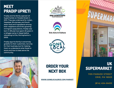 Brochure containing text from this blog post with images of a storefront, business logos, a man, and products on a shelf