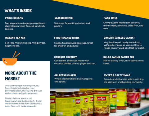 The inside of a brochure containing information about the products mentioned in this blog post. The image is an example of what comes inside the gift box.