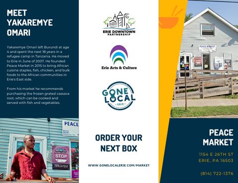 The outside of a brochure featuring the text from this blog post, and an image of a storefront and a man