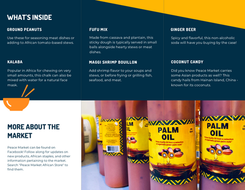 The inside of a brochure featuring a list of the products mentioned in this blog post, as well as an image of a shelf full of palm oil bottles
