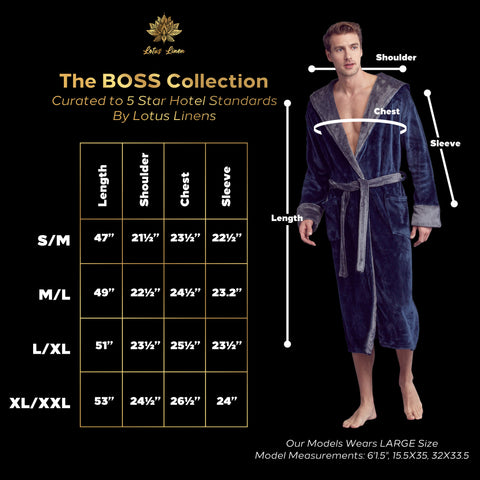 big tall mens plush robes with hooded