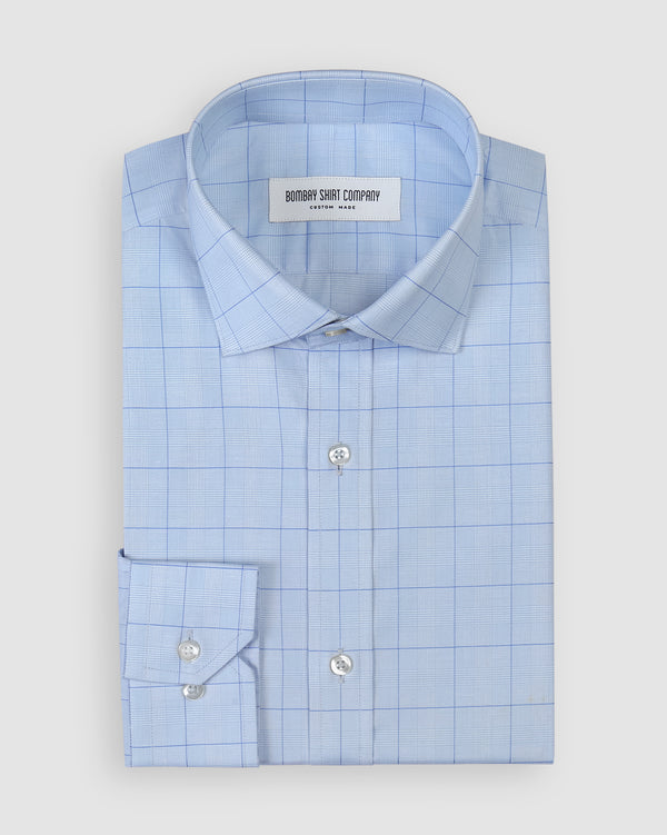 Wrinkle Resistant Medium Blue Glen Plaid Checks