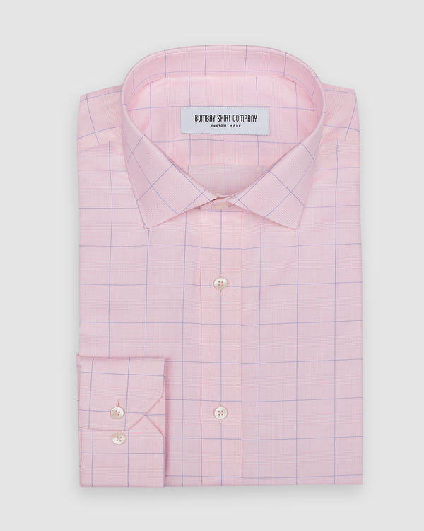 Wrinkle Resistant Cherry Blossom Prince of Wales Checks Shirt