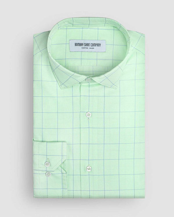 Wrinkle Resistant Green Apple Prince of Wales Checks Shirt